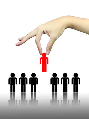 chosen: hand pick up chosen people Stock Photo