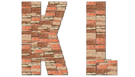 The alphabet brick wall on white background K L photo