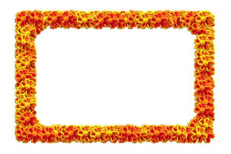 The yellow flower frame isolated on white