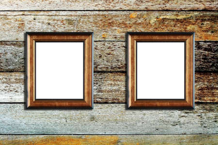 wooden insert: The wooden photo frame on wood background