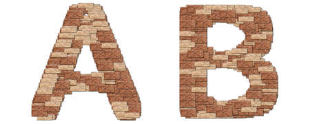 The alphabet brick wall on white background A B
