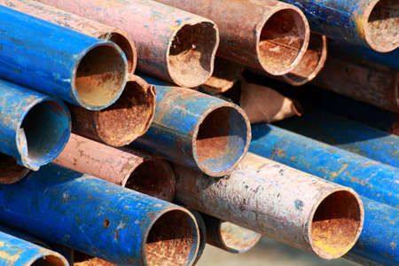 The old damaged rusty pipe