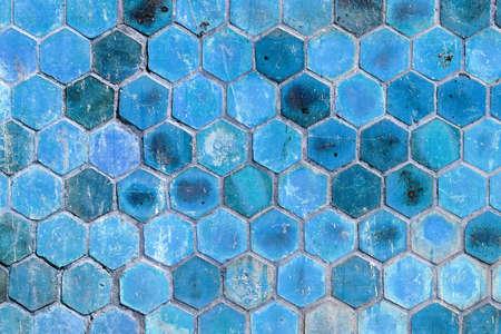 The blue hexagonal shape wall background photo