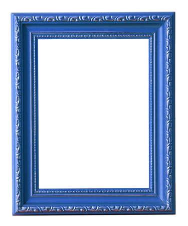 objetos cuadrados: El marco de fotos azul aislado en blanco