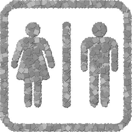 The black and white toilet sign canvas texture