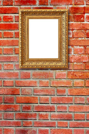 The photo frame on brown stone wall background photo