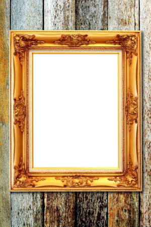The vintage picture frame on wood background photo