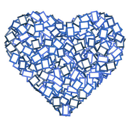 The blue photo frame heart shape photo