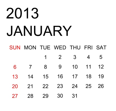 The simple calendar year 2013 january Stock Photo