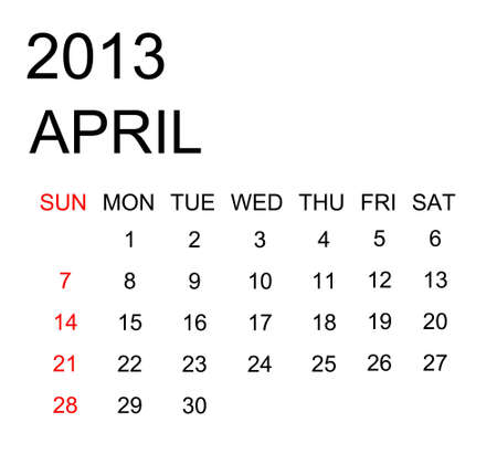 The simple calendar year 2013 april Stock Photo - 16440136