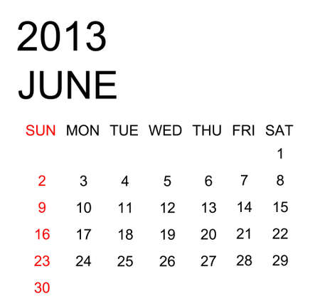 The simple calendar year 2013 june Stock Photo - 16440135