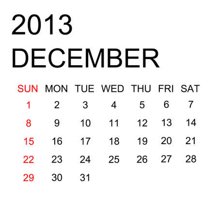 The simple calendar year 2013 december Stock Photo