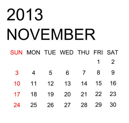 The simple calendar year 2013 november Stock Photo - 16440143