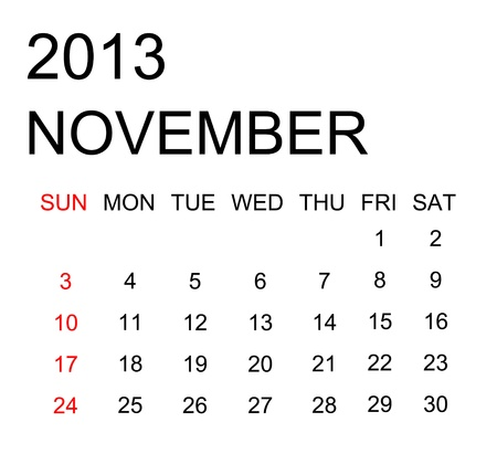 The simple calendar year 2013 november