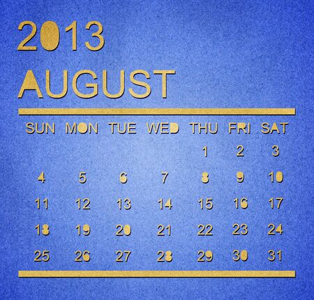 The paper calendar year 2013 August Stock Photo - 17287359
