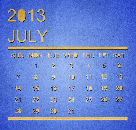 The paper calendar year 2013 july Stock Photo - 17287352