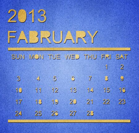 The paper calendar year 2013 February Stock Photo - 17287355