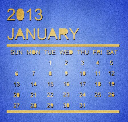 The paper calendar year 2013 January Stock Photo - 17287364