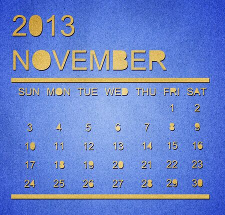 The paper calendar year 2013 November Stock Photo - 17287366