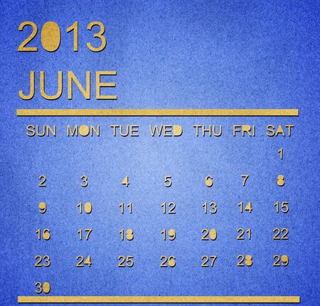 The paper calendar year 2013 june Stock Photo - 17287350