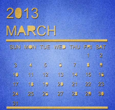 The paper calendar year 2013 march Stock Photo - 17287357