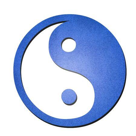 yang ying: The blue ying yang symbol paper art on white