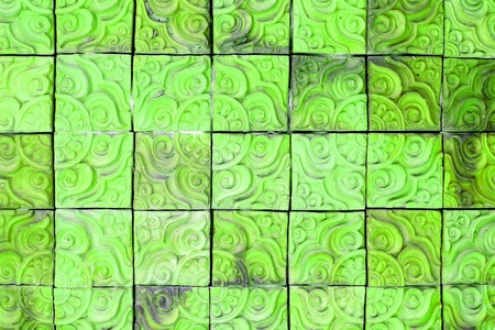 The green square brick wall background Stock Photo - 17726962