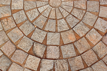 terra cotta: The abstract decorative brick patterned patio