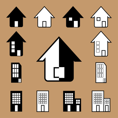 The vector house icon in black and white Vector