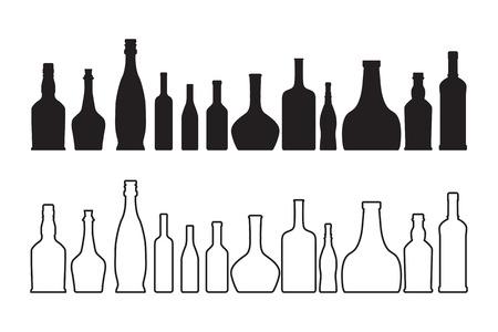 botella de whisky: El vector vino y una botella de whisky