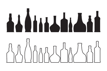 whiskey bottle: The vector wine and whiskey bottle