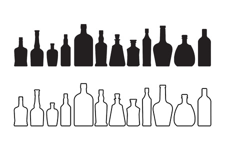 The wine and whiskey bottle icon isolated on white