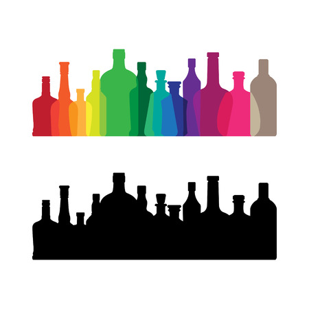 whine: The colorful whine and whiskey bottle icon Illustration