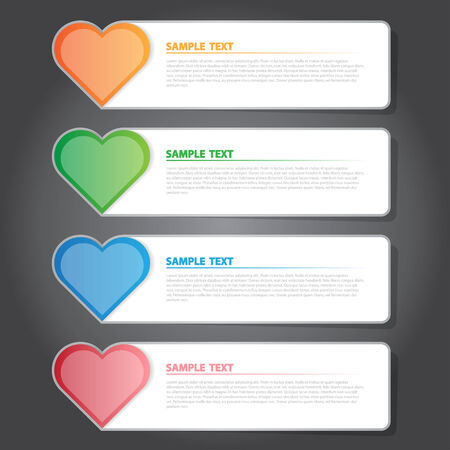 isolation backdrop: The Vector Illustration, Infographic Heart Symbol Banner for Design and Creative Work