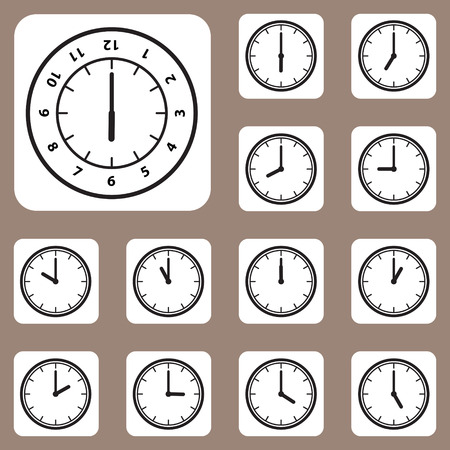 L'illustration vectorielle, Ic�ne de l'horloge pour le travail cr�atif et design Illustration