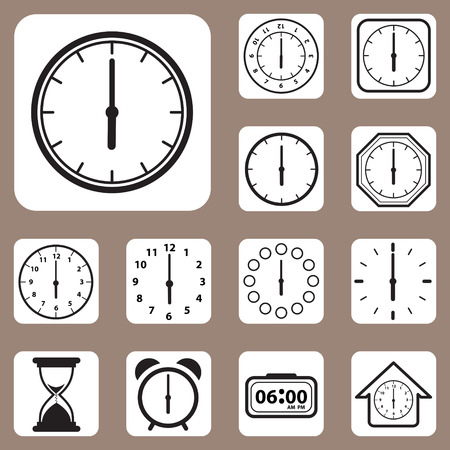 The Vector Illustration, Set of Clock Icon for Design and Creative Work Vector