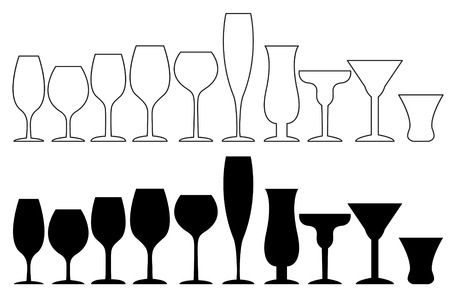 The Silhouette whiskey glass isolated on white, vector work