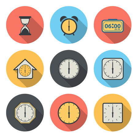 morning noon and night: The Flat Circular Icon for Clock and Time Concept Illustration