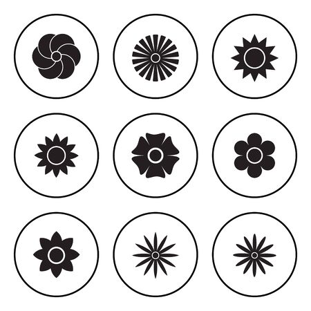 The Black and White Circular Icon for Flower and Nature Concept