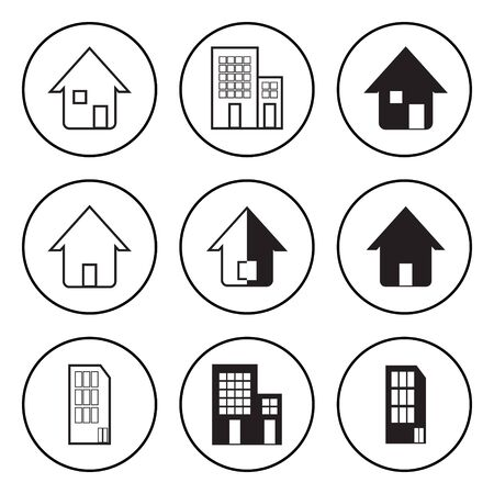 residence: The Black and White Circular Icon for House and Residence Illustration
