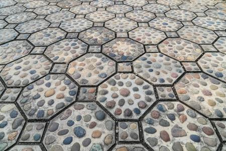 octagon: Octagon Bricks And Black Stone Floor Stock Photo