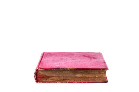 old book stain red color, isolated on white background