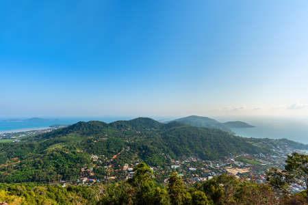 cityscape of Phuket town and landscape of island and sea view at phuket province, Thailand