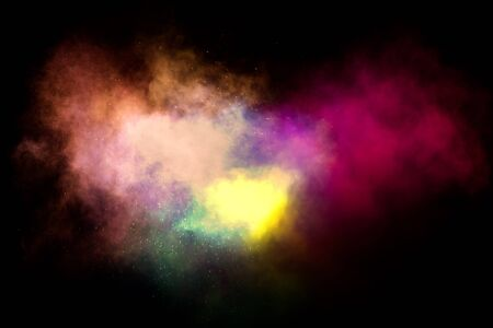 abstract multicolor smoke move on black background, smoke clouds blurred motion