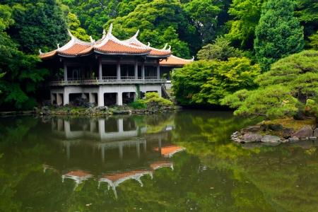 Japanese Traditional tea house in Shinjuku Gyoen National Garden, Tokyo, Japan