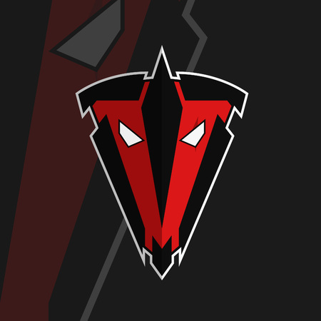 Team logotype. Gaming team logo. TV letters in logo. Eyes with scar. Face plus shield design. Face and helmet brand logo. Red face. Black borders. White eyes. Flat design logo. Armored face symbol. Illustration