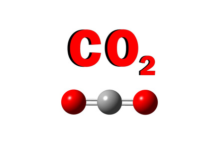 carbondioxide: illustration of carbondioxide molecule on isolated white background Stock Photo