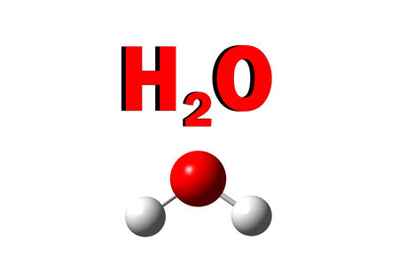 h2o: illustration of water molecule on isolated white background