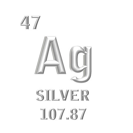 ag: The chemical symbol of silver isolated on the white background