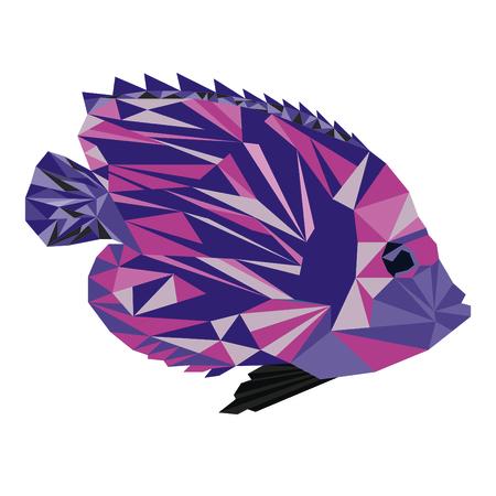 Pink fish with purple zebra pattern.